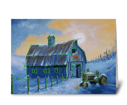 A John Deere Green Christmas greeting card