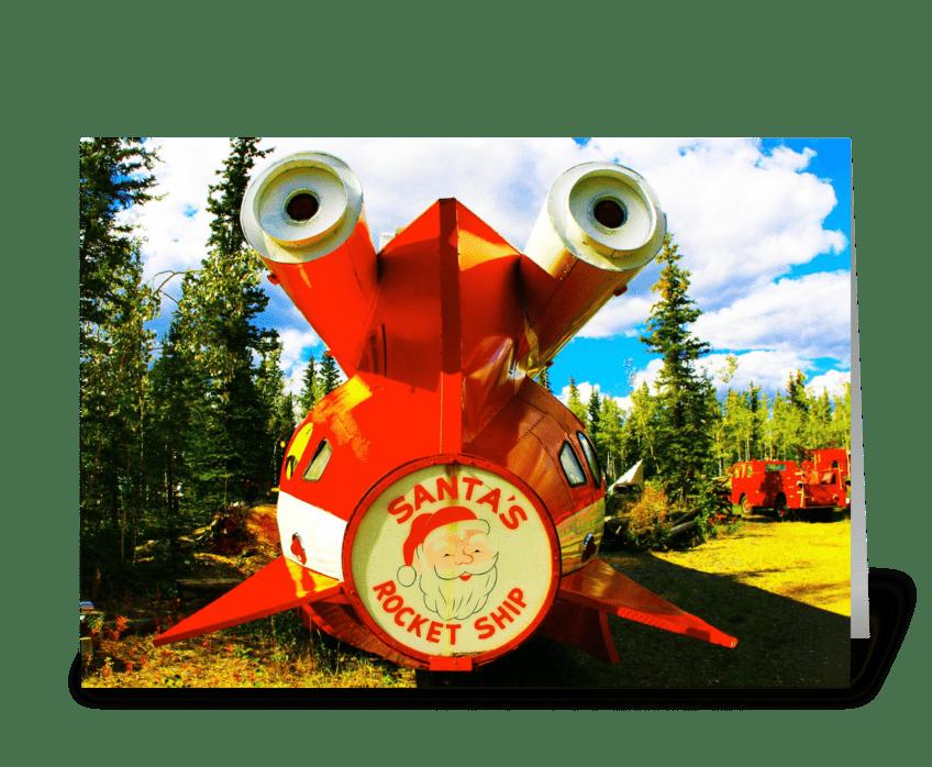 Santa's Rocket Ship greeting card