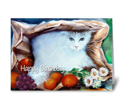 Cat in a Bag, Happy Birthday greeting card