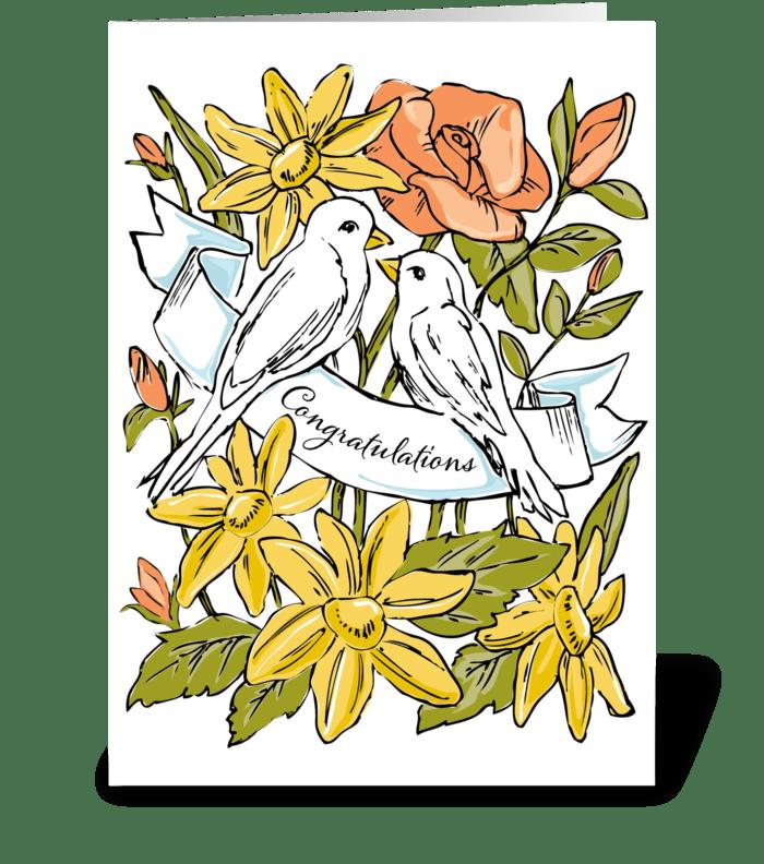 Congratulations Love Birds greeting card