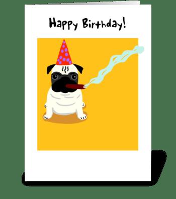 Pug Old Dog Birthday greeting card