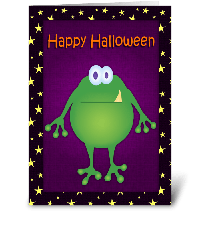 Frog Monster Halloween Card greeting card