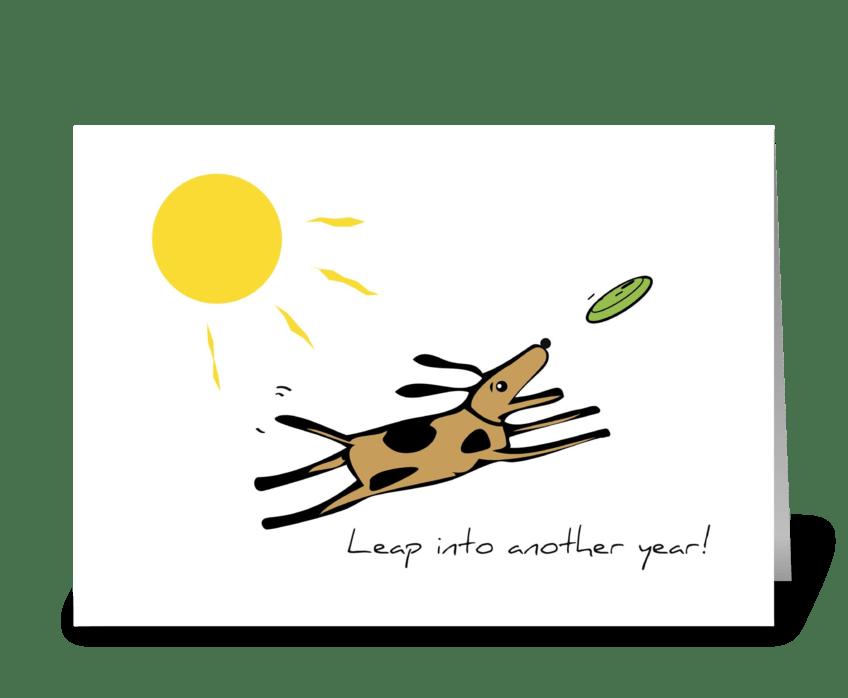 Leap Dog Birthday greeting card