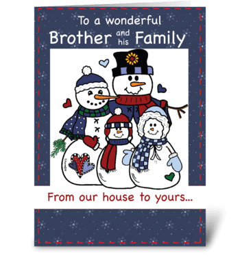 Brother & Family Snow Family Christmas greeting card