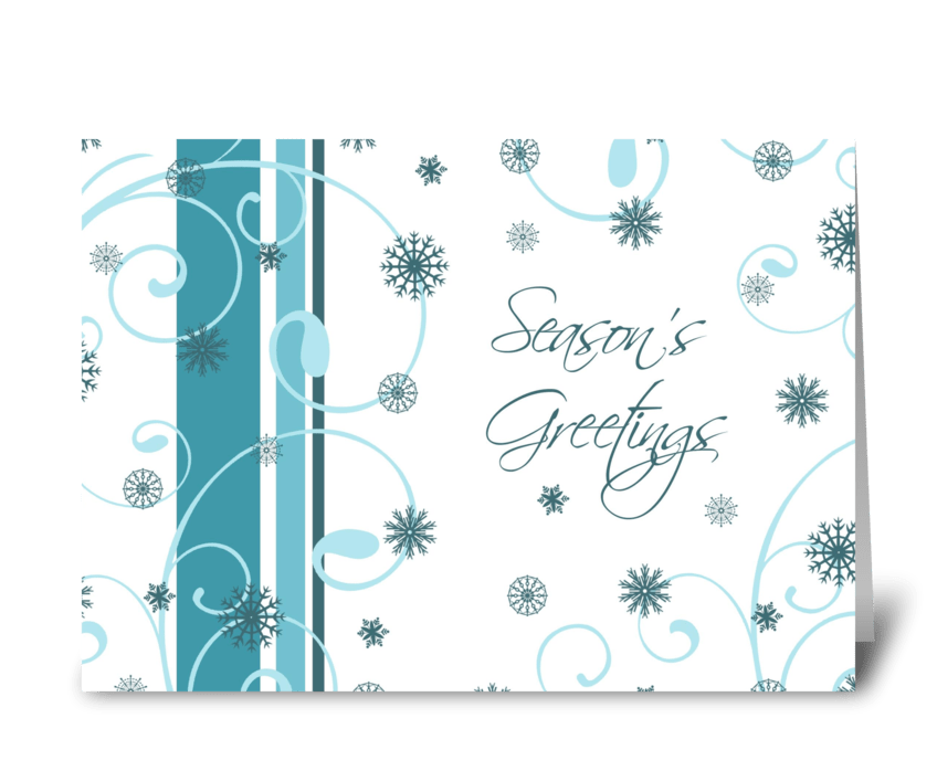 Season's Greetings Teal White Snowflakes greeting card
