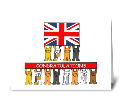 UK Congratulations fun cats with flag. greeting card