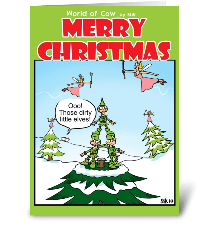dirty little elves christmas card greeting card