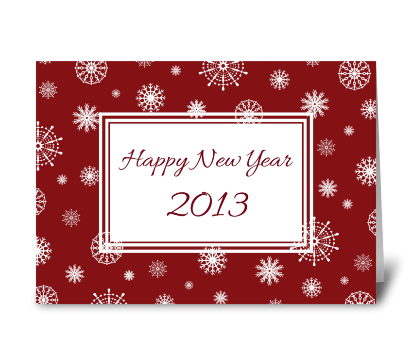 Happy New Year 2013 Red White Snow greeting card