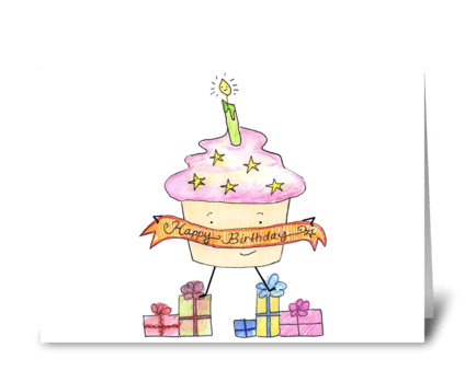 Happy Birthday Cupcake & Presents greeting card