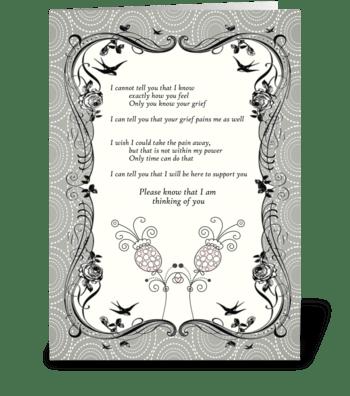 Vintage Flower Sympathy Card greeting card
