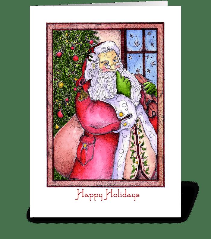 Festive Santa Claus greeting card