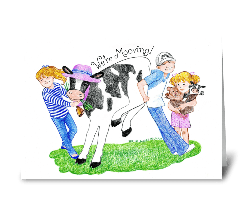 """We're """"Mooving"""" Announcement greeting card"""
