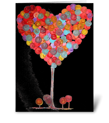 Bobbly Heart Tree greeting card