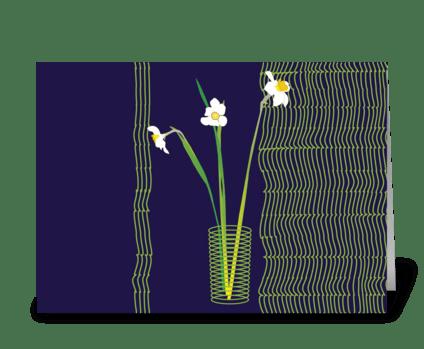 Floral_narcissus-vase greeting card
