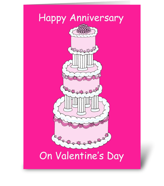 Anniversary on Valentine's Day greeting card