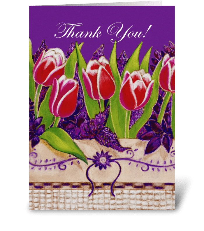 Red Tulips Thank You greeting card