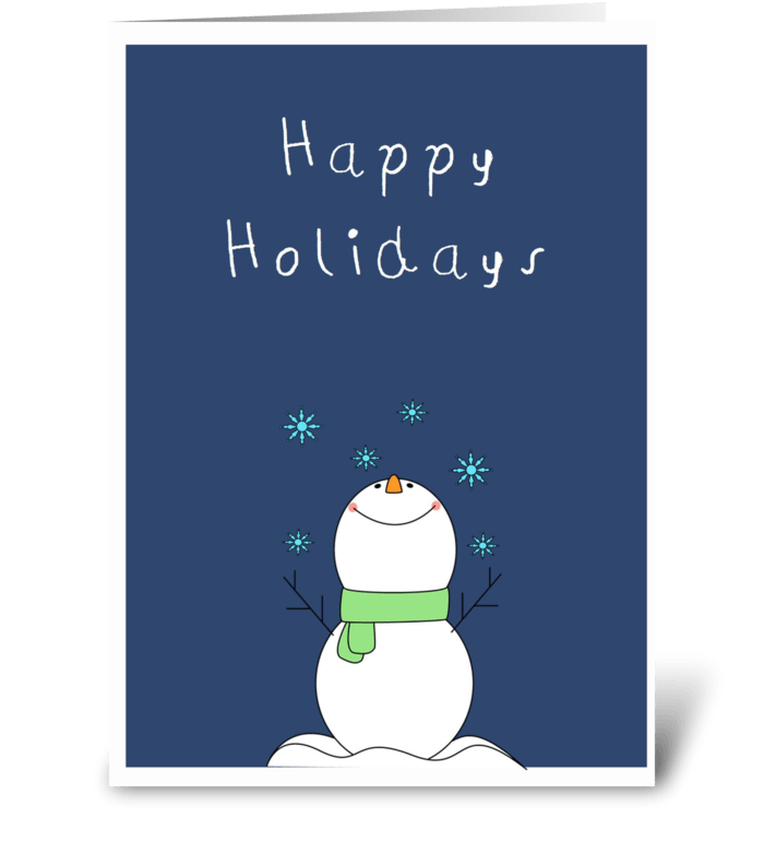 Cute snowman wishing you Happy Holidays  greeting card