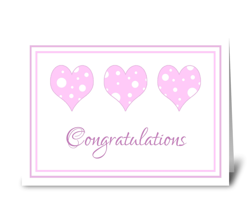 Baby Shower Congratulations Pink Hearts greeting card