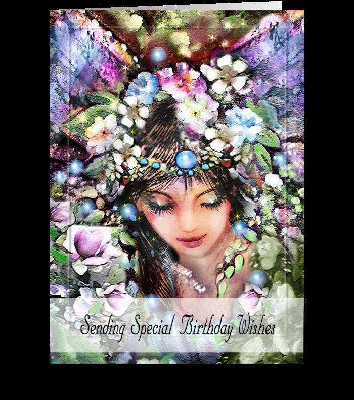 Special Birthday Wish, Garden Faery ART greeting card