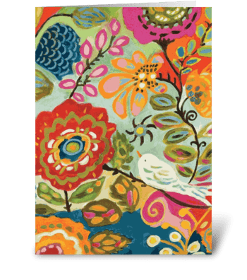Birds and Flowers greeting card