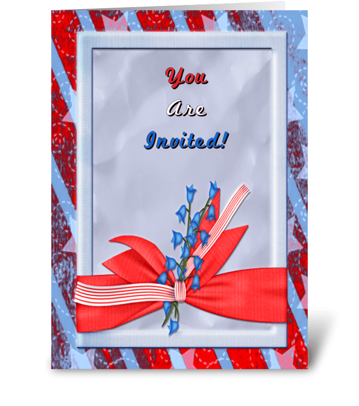 Red White Blue Invitation greeting card