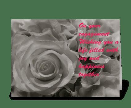 Engagement rose greeting card