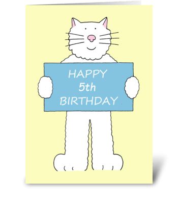 Happy 5th Birthday cartoon cat. greeting card