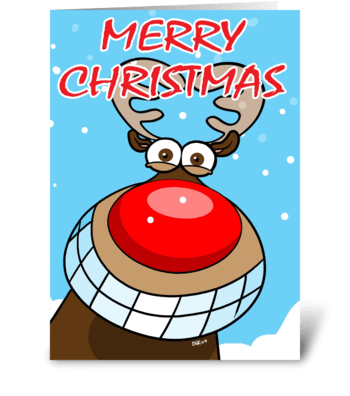Merry Christmas from Reindeer greeting card