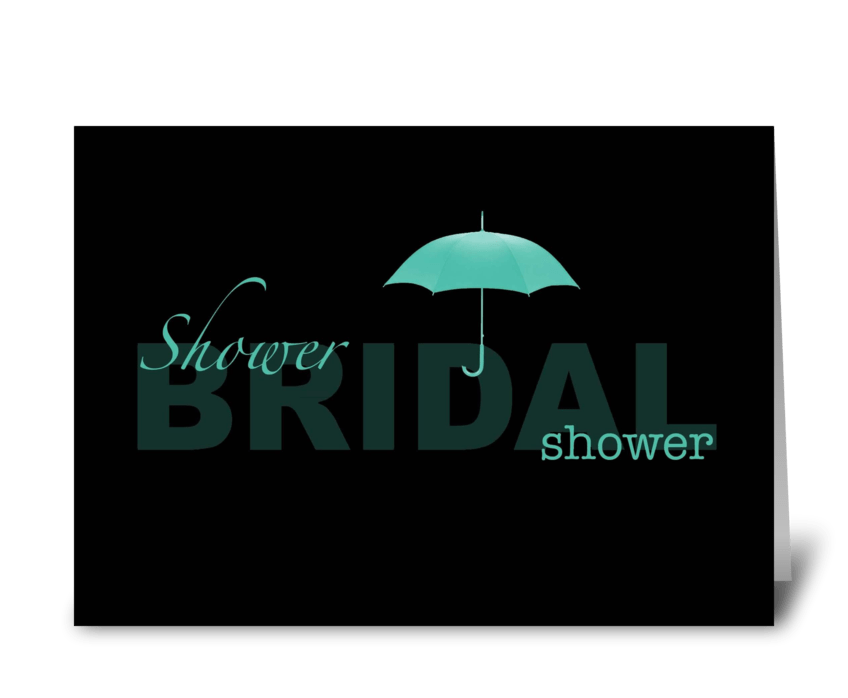 Bridal Shower - black and mint greeting card
