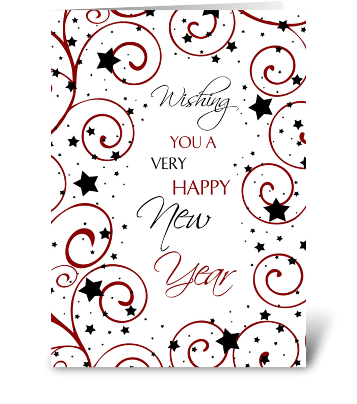 Happy New Year Stars and Swirls greeting card