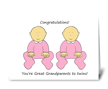 Great Grandparents to twins. greeting card