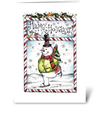 Skating Snowman greeting card