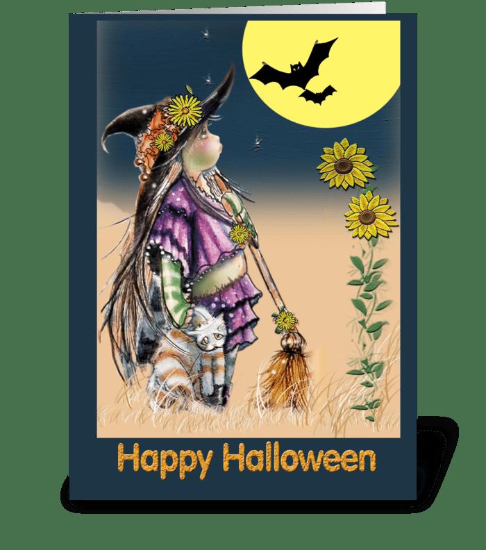 Little Witch & Cat, Halloween ART greeting card