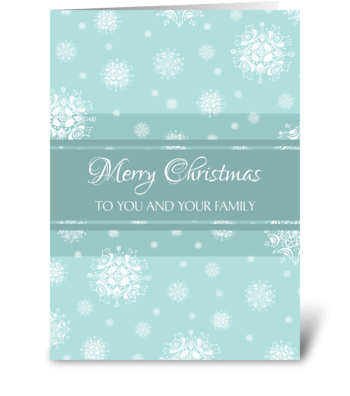 Merry Christmas Turquoise Snowflakes greeting card