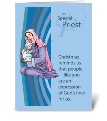 Priest, Mary and Jesus on Blue Christmas greeting card
