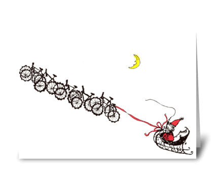 santa bikes greeting card
