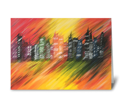 Cityscape Blur greeting card