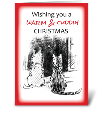 Dog & Cat Looking Out Window, Christmas greeting card