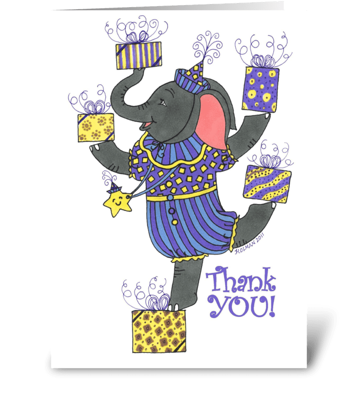 Elephant Thank You for  Gift greeting card