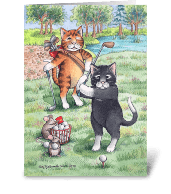 Golfing Cats Happy Birthday #55 greeting card