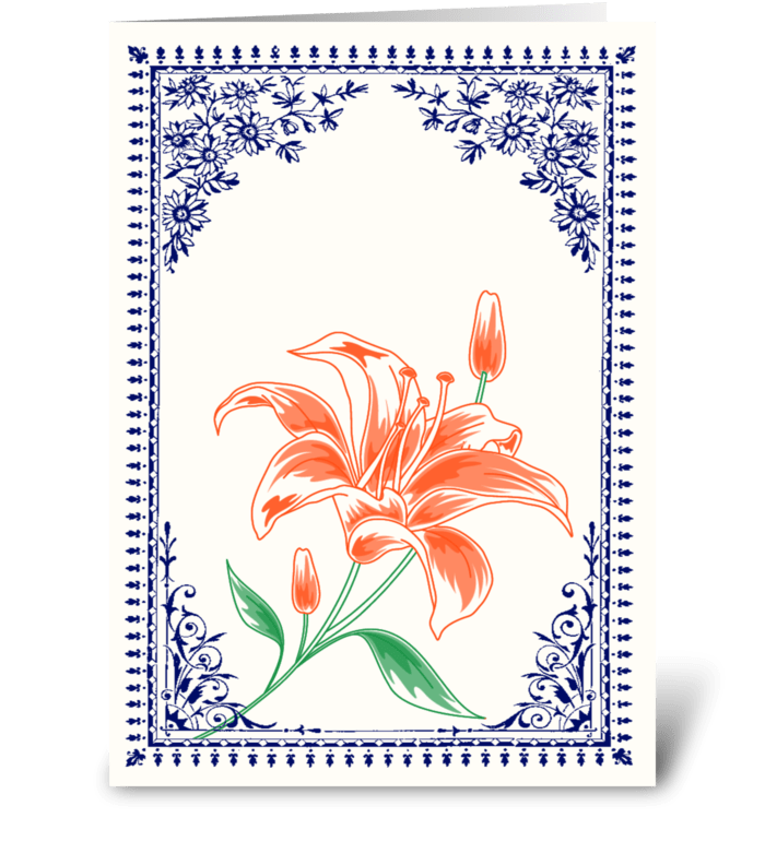Vintage Orange Flower 4 with Blue Border greeting card
