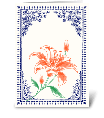 Vintage Orange Flower 4 with Blue Border greeting card