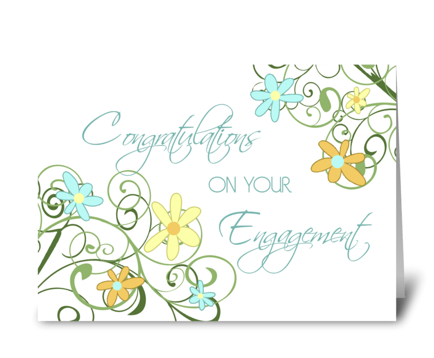 Engagement Congratulations Floral Swirls greeting card