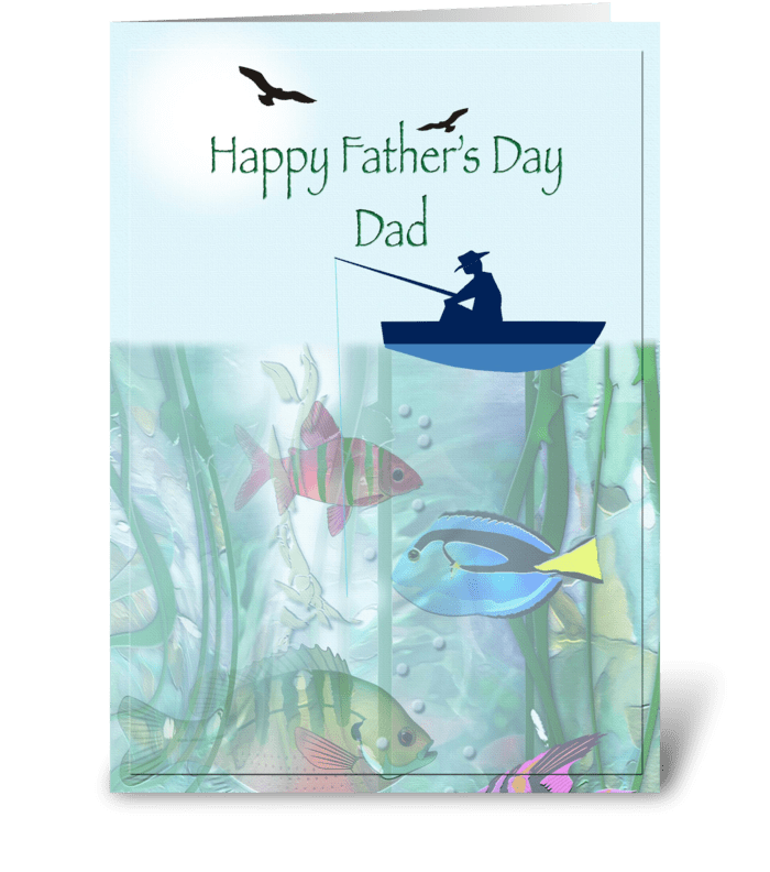 Dad fishing, Father's Day greeting card