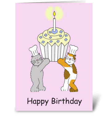 Cats and cupcake Birthday. greeting card