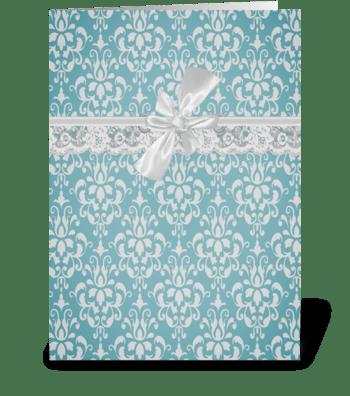 Aqua Baroque Vintage Lace Card greeting card