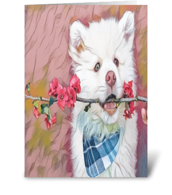 floral dog branch greeting card