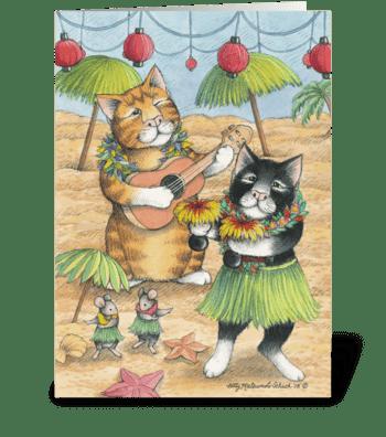 Hula Cats Birthday #39 greeting card