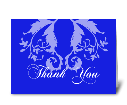 Thank You, Blue Florish Design greeting card
