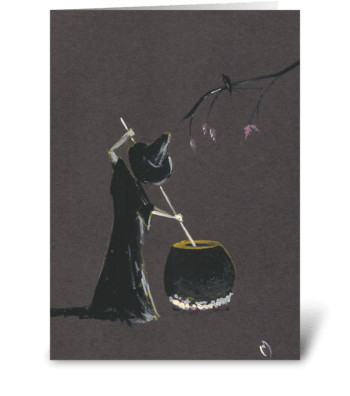 Witch and her Pot greeting card